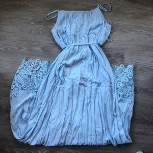 Motherhood Maternity Dresses - Baby Blue Motherhood Maternity Lace Hem Maxi Dress